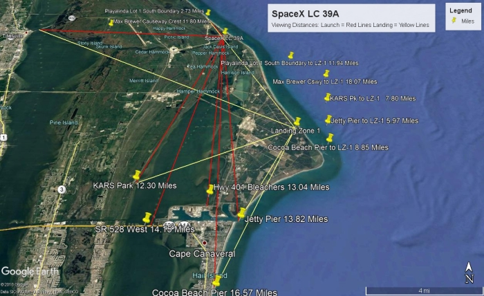 SpaceX LC39-A Launch and Landing Map2